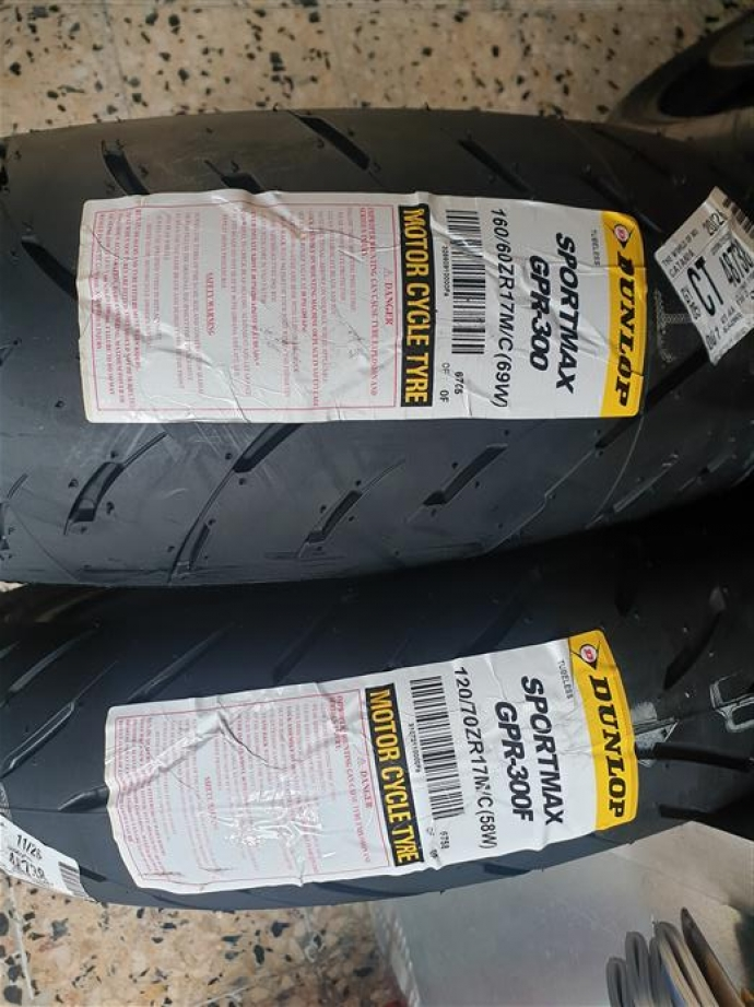 coppia gomme dunlop sportmax gpr 300 dot 2019 120/70/17 160/60/17