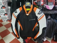 Giubbotto moto in pelle Macna Hyper orange/black